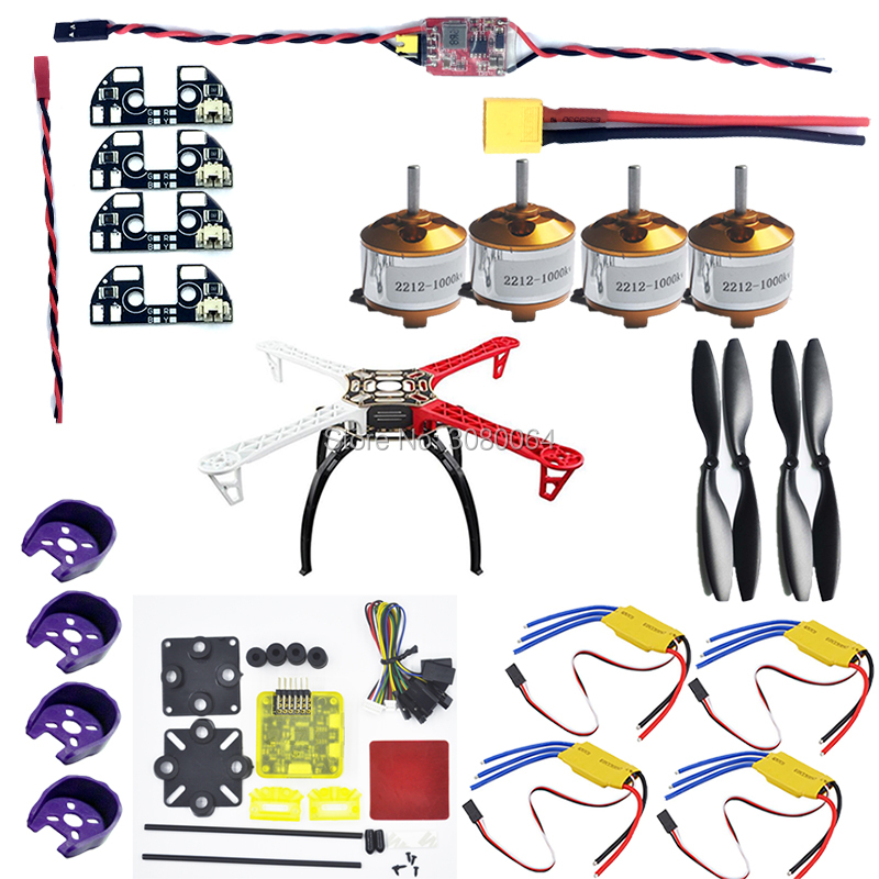 F450 Quadcopter Frame Kit+2212 1000KV Brushless Motor+30A ESC+1045 Propeller+APM 2.6 2.5 2.8 LED BEC+CC3D EVO flight controller~ f02015 g 6 axis foldable rack rc quadcopter kit apm2 8 flight control board gps 1000kv brushless motor 10x4 7 propeller 30a esc