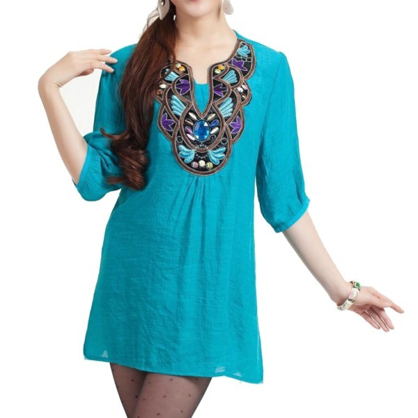 Women Boho Ethnic Embroidery Long Tops Blouse 3/4 Sleeve Pullover Shirt