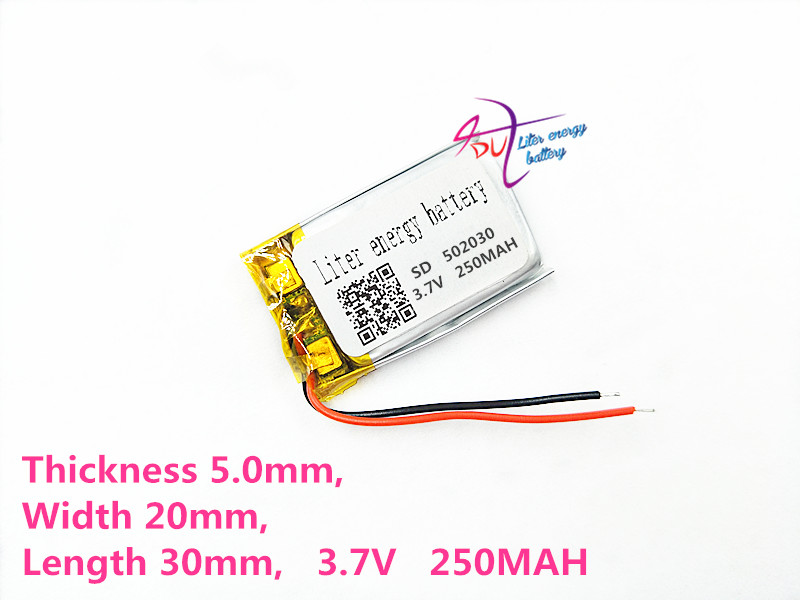 lithium polymer battery 052030 502030 3.7V 250mah MP3 MP4 MP5 toy polymer lithium battery