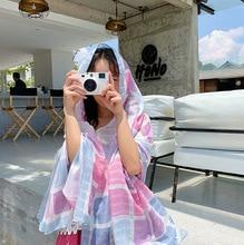 1 Piece Fashion Elegant Plaid Pattern 180x90cm Women Sunscreen Cotton Linen Beach Scarf Silk Shawl wraps bandana beach hijab