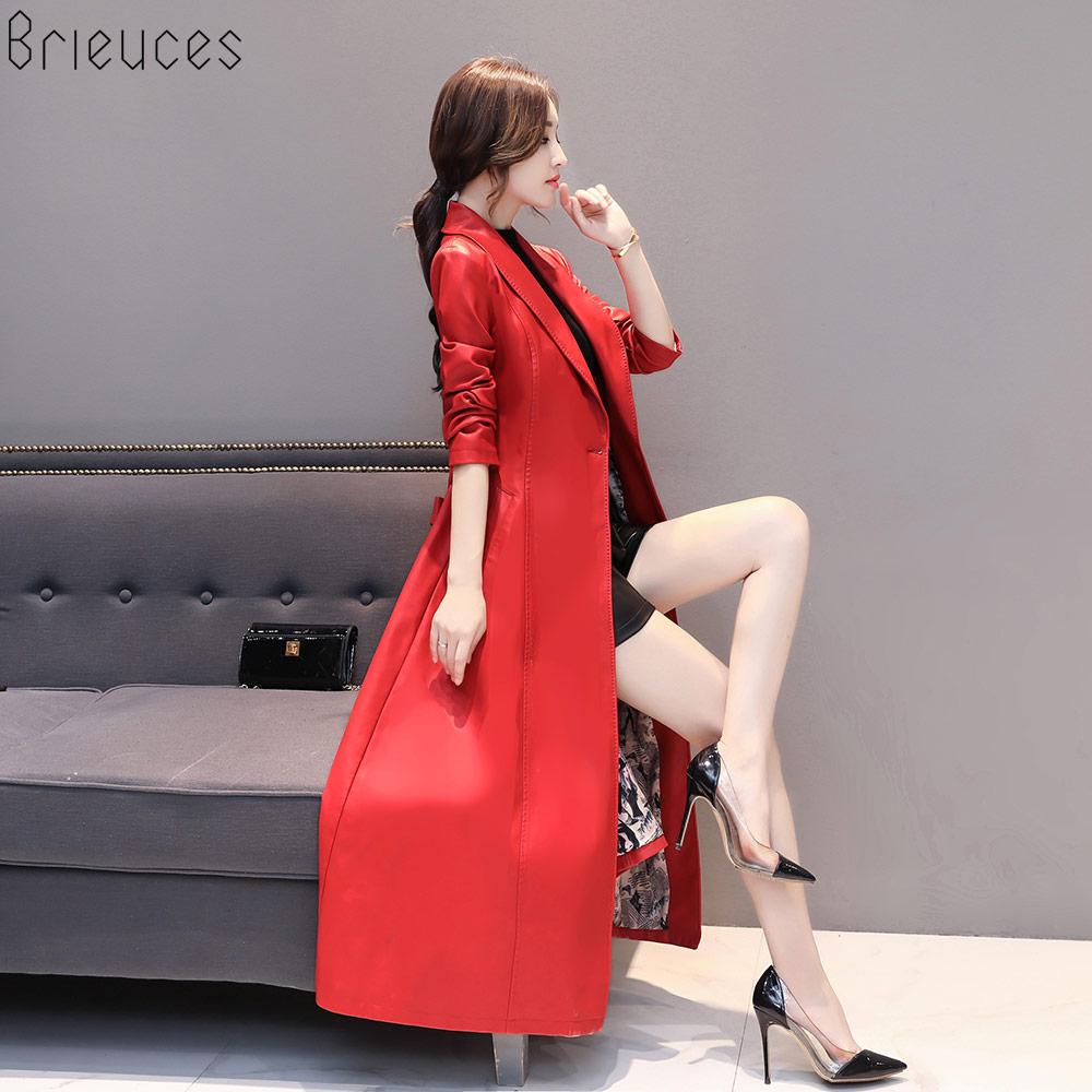 Veste Automne Manteau Tranchée Noir Slim De Hiver Plus Taille Femmes La rouge Mouton Doux Noir long X Faux Pardessus Cuir En Pentecôte Ceinture pXrwzqpnfU