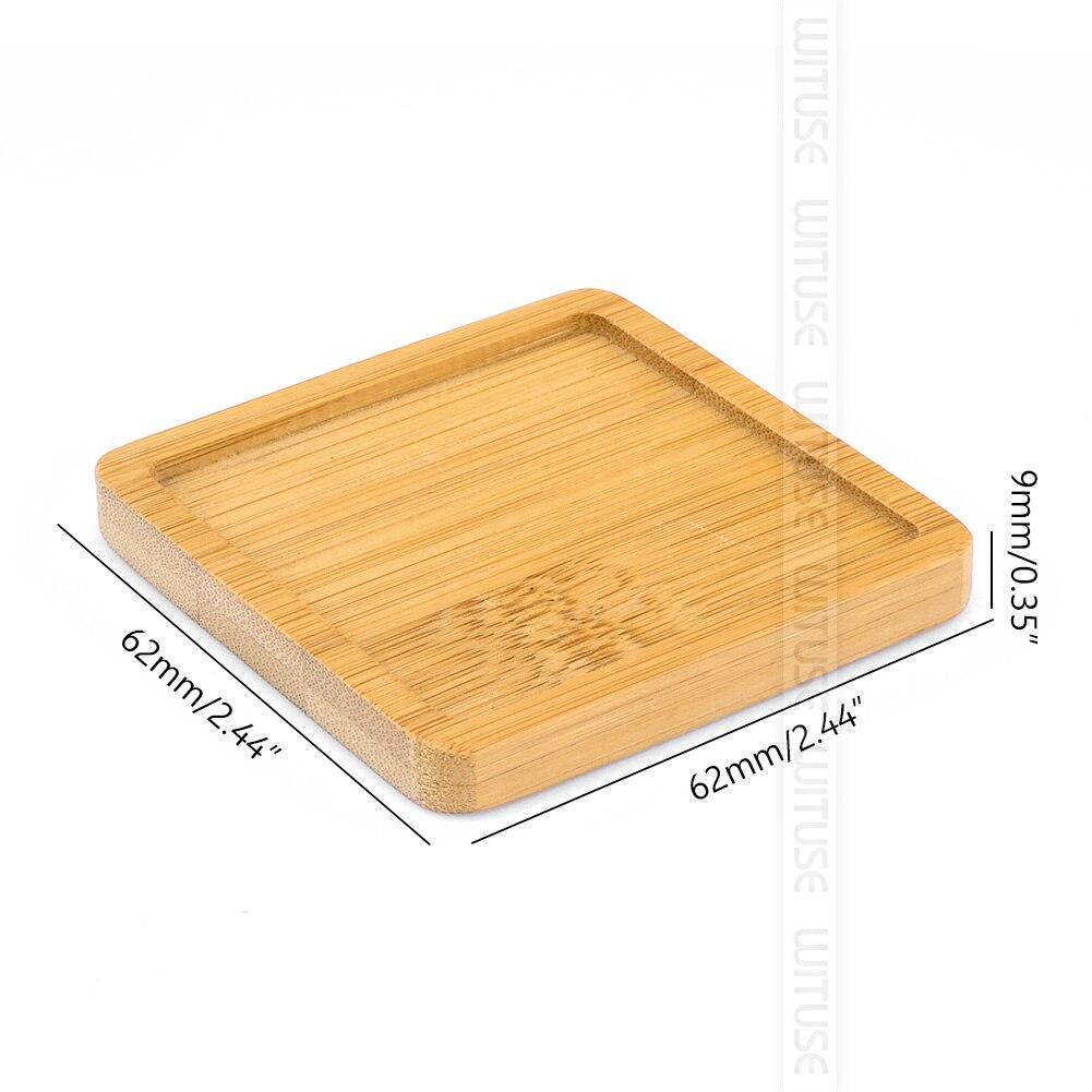 WITUSE бамбуковые круглые квадратные чаши тарелки для суккулентов горшки лотки база стоячий садовый Декор украшение дома ремесла 12 видов - Цвет: square