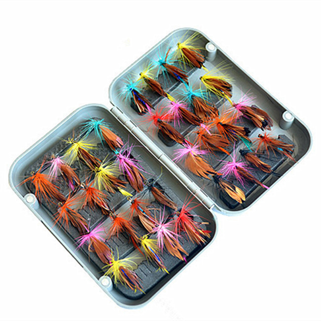 32pcs Boxed fly font b fishing b font lure set Artificial bait trout fly font b