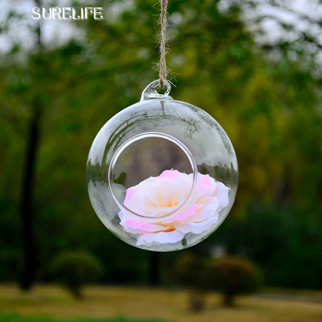 12pcs 6 8 10 12cm Clear Round Hanging Glass Vase Bottle Terrarium