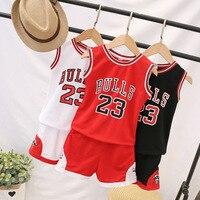 Летняя одежда для маленьких мальчиков детская баскетбольная форма спортивный костюм для маленьких девочек комплект из 2 предметов, комплек...