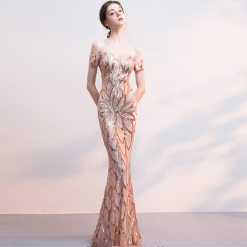 Bling Off Shoulder Chinese Sexy Sequins Oriental Party Female Cheongsam Stage Show Qipao Elegant Celebrity Banquet Dresses