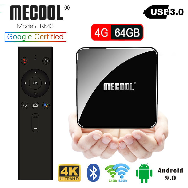 Android 9.0 Mecool KM3 Smart TV BOX 4G RAM 64G ROM Amlogic S905X2 Google voice control 2.4g/5g wifi Support 4K HD set top boxAndroid 9.0 Mecool KM3 Smart TV BOX 4G RAM 64G ROM Amlogic S905X2 Google voice control 2.4g/5g wifi Support 4K HD set top box