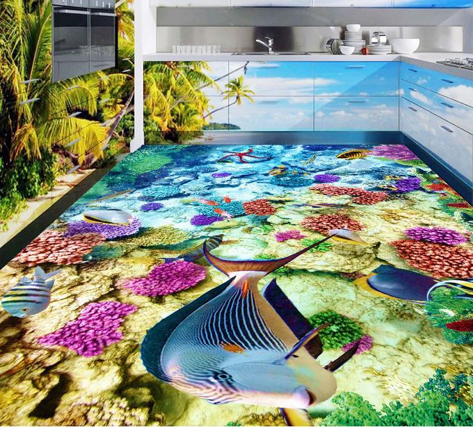 Kustom 3d Lantai Bawah Laut Ikan Tropis 3d Lantai Perekat
