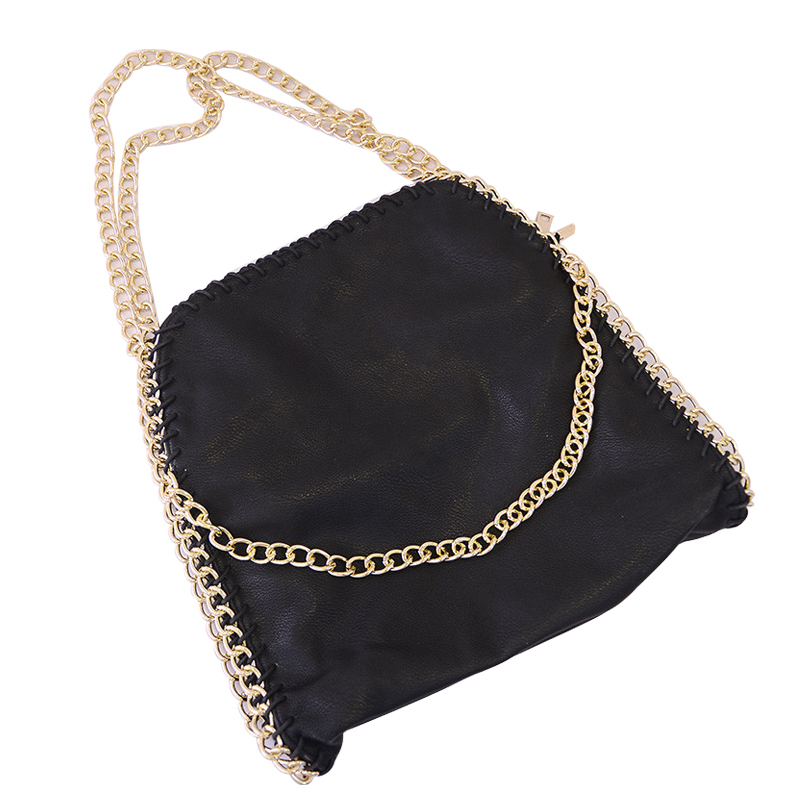 hip hop women tote pu leather black bag with chain strap shoulder ...