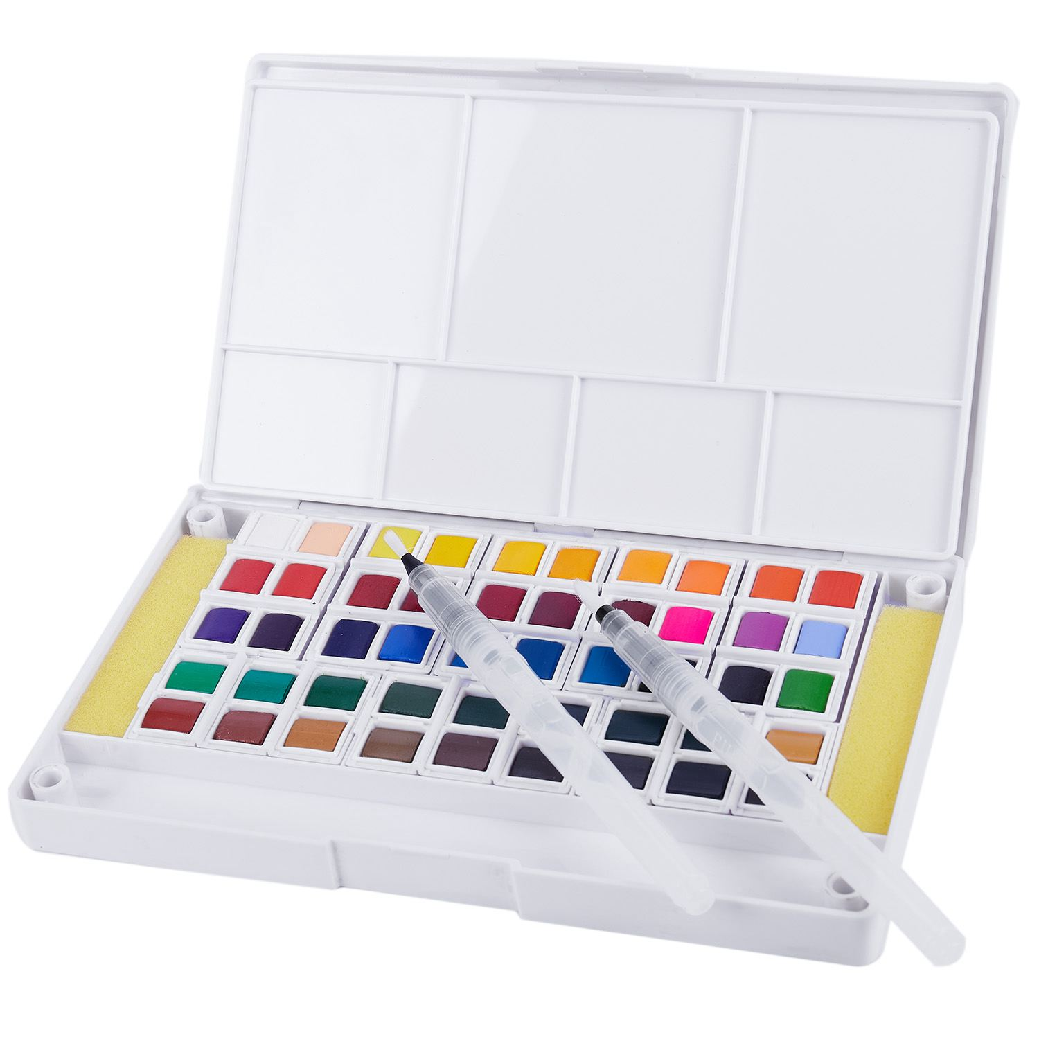 Solid Watercolor and Sponge Brush Paint Set Pigment For Draw
