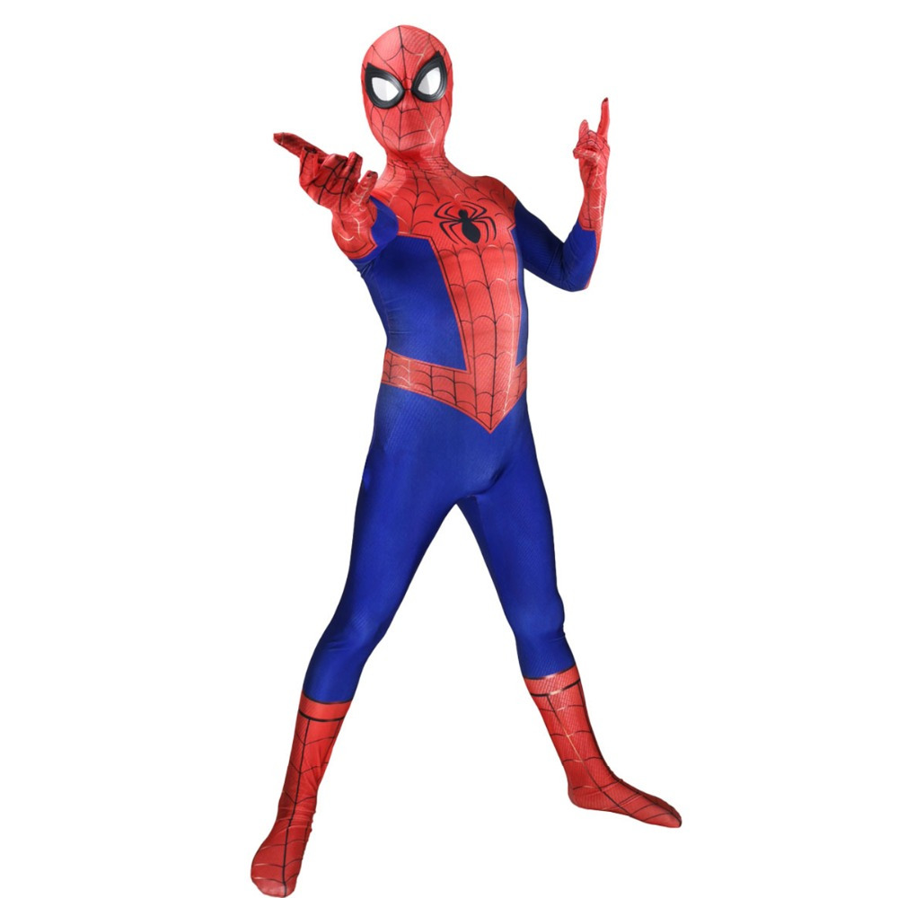 Spider-Man Into the Spider-Verse Peter Parker Cosplay Costume Zentai Spiderman Superhero 3D Print Spandex Bodysuit Suit