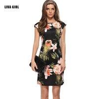 2017 Brand Women Black Summer Dresses Elegant Slim Package Hip Pencil Vestidos Tropical Flower Sexy Bodycon