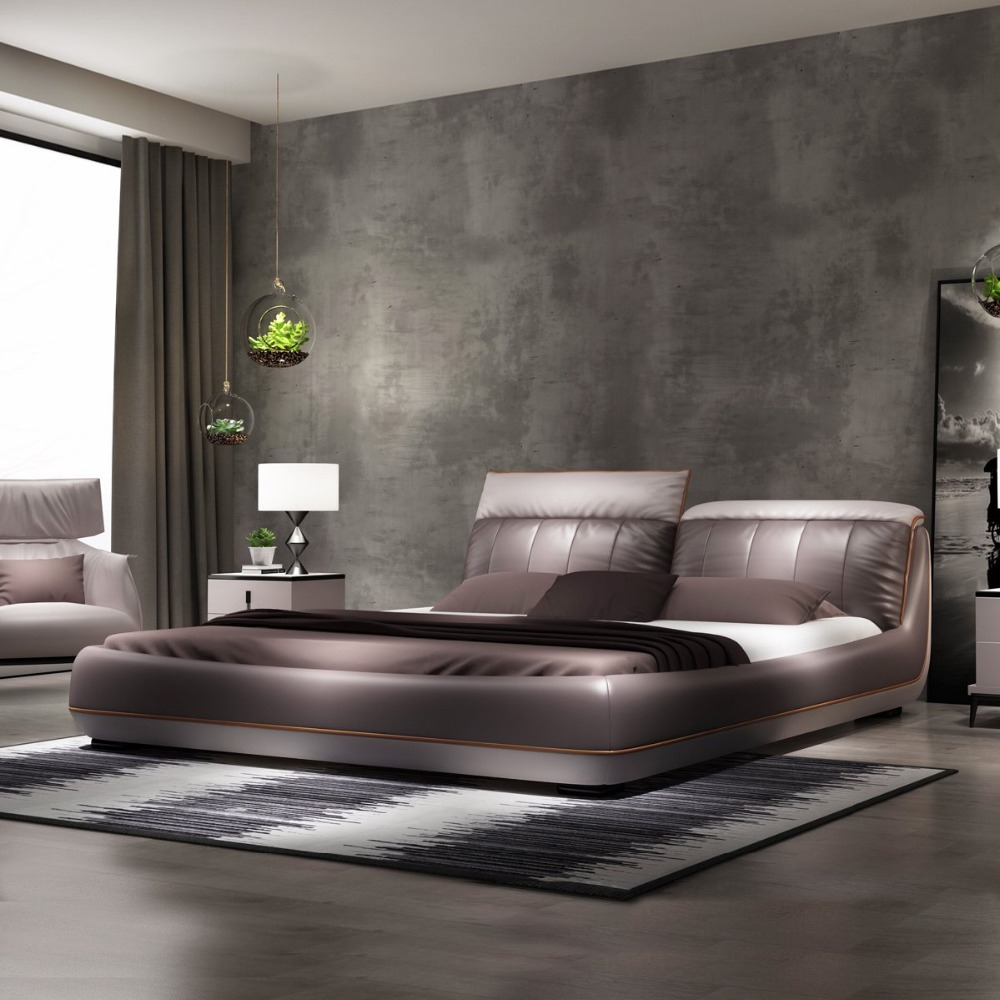 US $1130.0 |RAMA DYMASTY genuine leather soft bed modern design bed/  fashion king/queen size bedroom furniture-in Beds from Furniture on ...