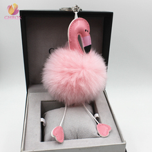 2017 Hot Sell Pompom Flamingo Keychain Lovely Key Chain Animal Bird Fluffy Artificial Rabbit Fur Ball Women Car Bag Key Ring