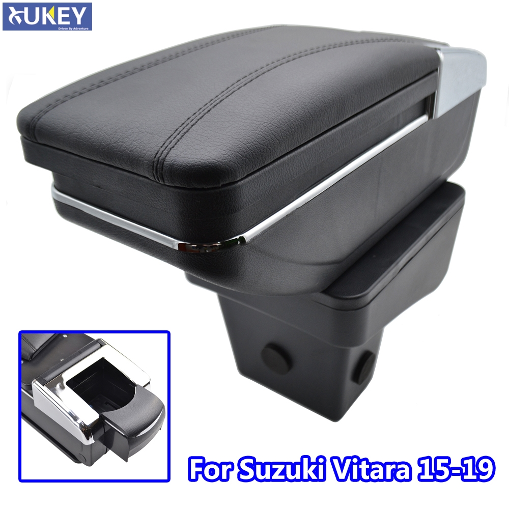 For Suzuki Vitara 2015 2019 Storage Box Armrest Content Arm Rest Rotatable Black Leather Ashtray 2016