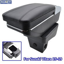 For Suzuki Vitara 2015 2019 Storage Box Armrest Content Arm Rest Rotatable Black Leather Ashtray 2016