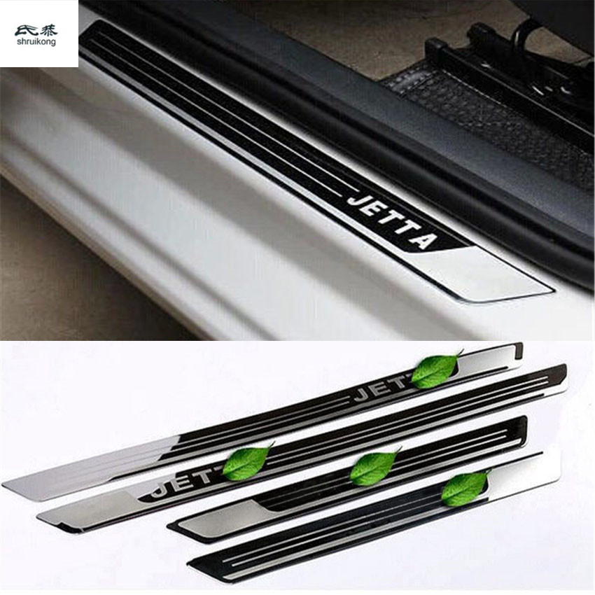 Free Shipping 4pcs/lot Ultra-thin Stainless Steel Door Sill Scuff Plate For VW Volkswagen JETTA MK6 Car Accessories