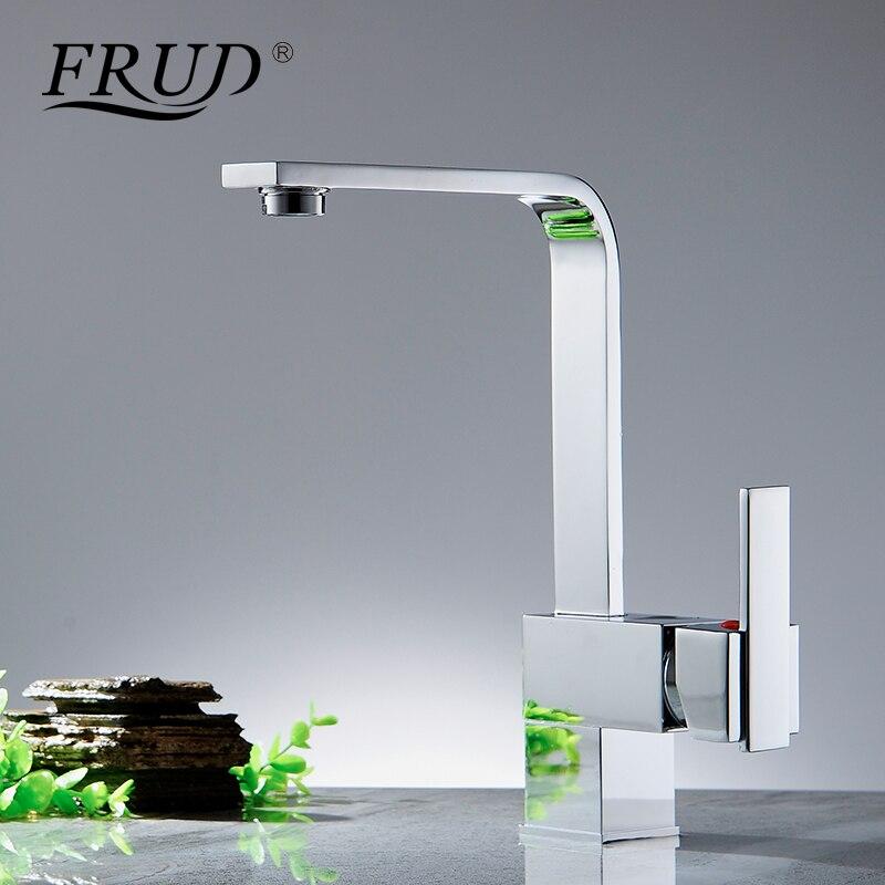 FRUD poignée unique cuisine évier robinet pont monté un trou en laiton plaque en céramique bobine moderne Simple conception équipée Chrome Y40029