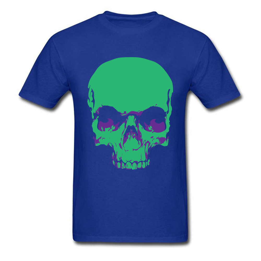 Male Fashionable Design Tops & Tees Crew Neck Summer All Cotton Tshirts Funny Short Sleeve Skull green T-Shirt Skull green blue