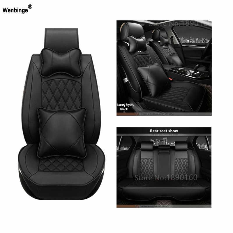 Universal couro do plutônio capa de assento do carro para lincoln navigator mkz mks mkc mkx mkt acessórios do carro-estilo do carro-adesivos 3d preto