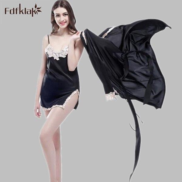Fdfklak Sexy 2017 New Arrival Brand Silk Robe & Gown Set Plus Size Two Piece Suspender Sleepwear + Bathing Robe Hot M-XXL E0835
