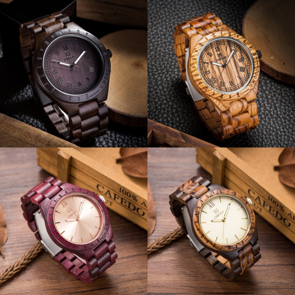 ФОТО Top Quality Wood Watch Men Wristwatches Wooden Clock Men's Fashion Brand Designer Walnut Black Sandal Wood Watches ChristmasGift