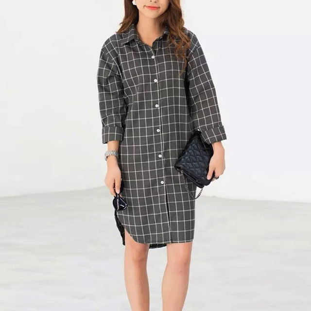 Hot Sale Autumn Blusas 2016 Fashion Sexy Plaid Shirt Dress Women Blouses Lapel Neck Long Sleeve Botton Casual Loose Tops