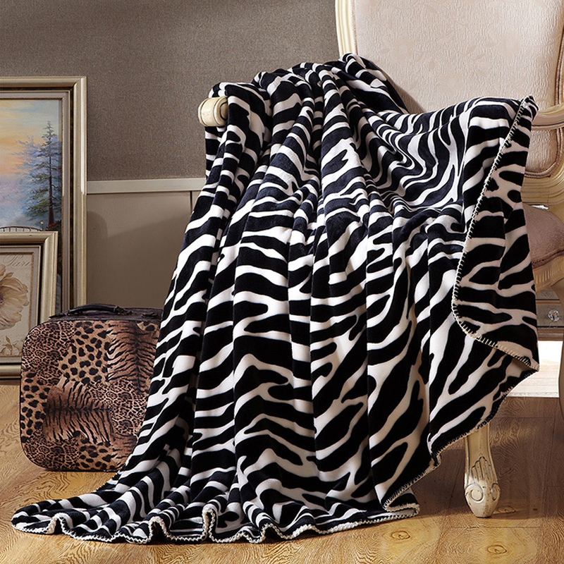 double face zebra stripes fashion thick blanket 200x230cm travelhotelsofa throws or decorative plaids queen size soft bedsheet - Decorative Throws