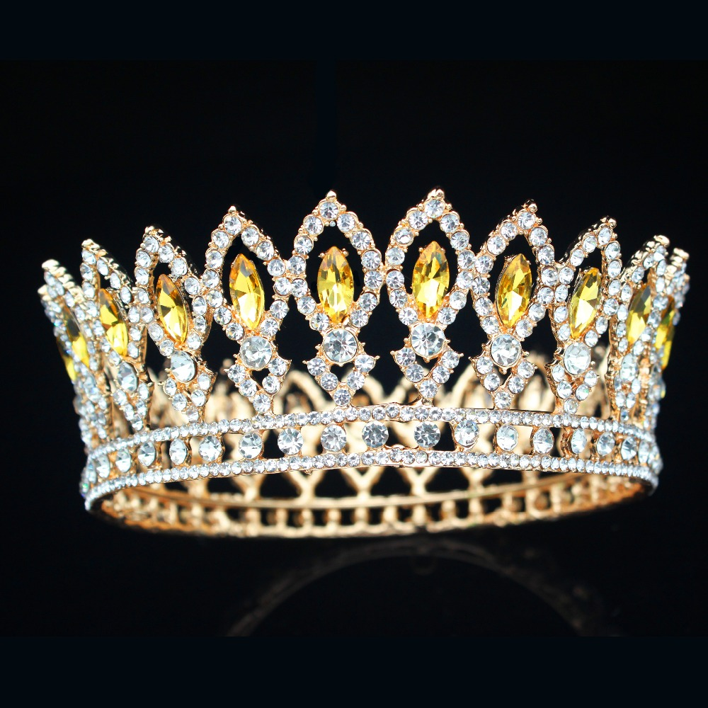 Vinatge Wedding Bridal Queen Tiara Crown Bride Pageant Crystal Hair Jewelry Accessories For Women Prom Sparkling Hair Ornaments