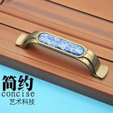 96mm Creative fashion vintage bronze furniture handles white and blue porcelain kitchen cabinet drawer dresser pull ceramic knob