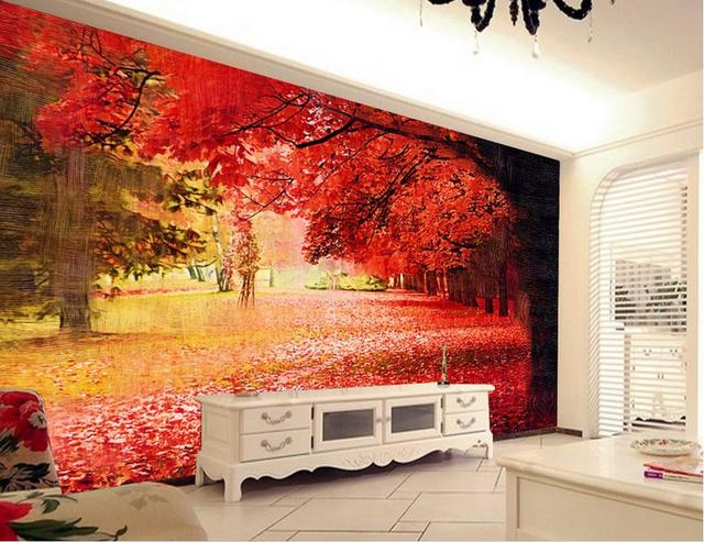 Custom Photo Wallpapers Red Trees Landscape Wallpaper Mural Kitchen Wall Murals