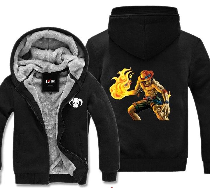 Одна штука, Portgus D Ace, зимняя толстовка с капюшоном, мужская повседневная куртка с капюшоном, плащ, шаль, Мужская одежда, сохраняющая тепло