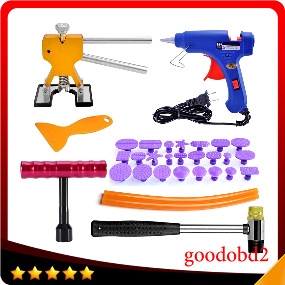 Car PDR Tools Kit Paintless Dent Removal Tool Set with glue gun + Hot Melt Glue sticks Red Small T-Styling Puller Glue Tabs 24x  pdr tools for car kit dent lifter glue tabs suction cup hot melt glue sticks paintless dent repair tools hand tools set
