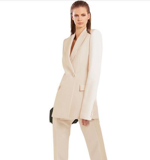 Custom Made Women Busines Suits 2 Piece Pantsuit Ladies Office Uniform Female Trouser Suits Ivory Women Suits