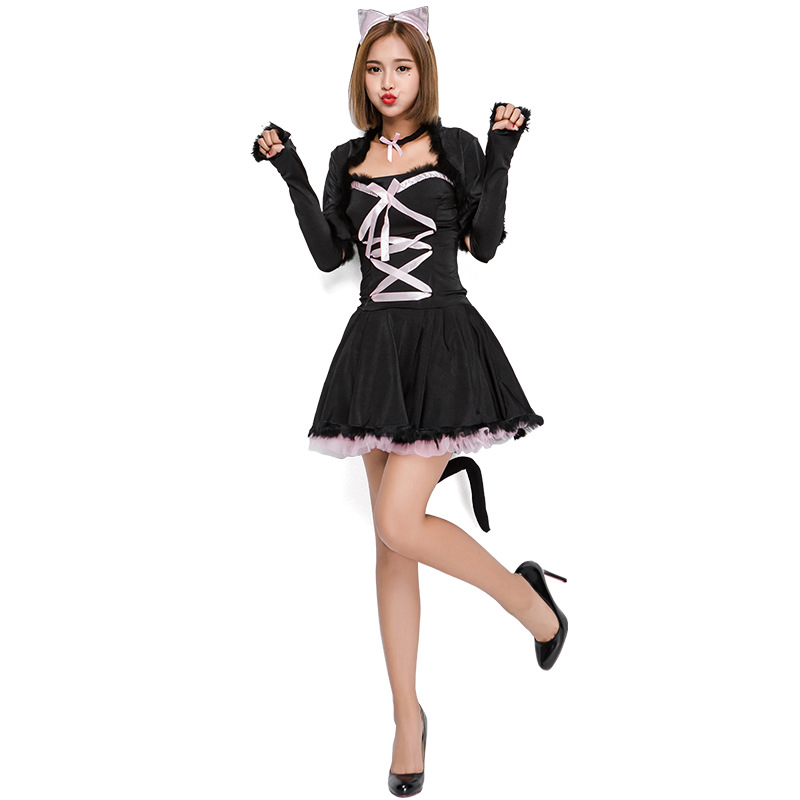 Umorden Halloween Costumes for Women Pretty Kitty Costume Black Cat Girl Cosplay Carnival Party Fancy Dress Short
