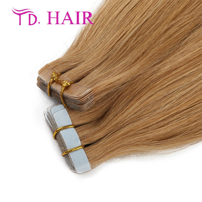 #18 Dark Blonde Pu Skin Weft Tape Hair Extensions 20/40pcs Cheaper brazilian viegin hair lovely Girl Hair top quality on sale
