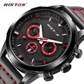 RISTOS Quartz Men Watch Top Brand Luxury Sport Genuine Leather Watches Male Military Waterproof Calendar Wristwatch Relojes 2016
