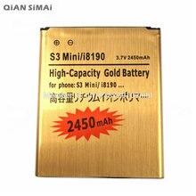 QiAN SiMAi Nueva 2450 mAh i8190 Reemplazo de Oro Batería Recargable Para El Samsung Galaxy S3 Mini GT-i8190 i8190 ACE II 2 I8160
