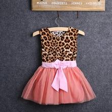 2016 Girls Summer Dress Baby Kids O neck Sleeveless Girls Leopard Printed Bowknot Tutu Dress Tulle