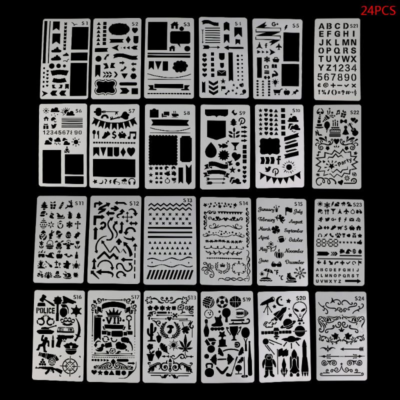 24 Sheets Drawing Template Stencils Journal Notebook Diary Scrapbooking Hollow DIY Stationery Stencil School Supplies