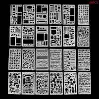 24 Lenzuola Modello di Disegno Stencil Ufficiale Notebook Diario Scrapbooking Hollow Cancelleria FAI DA TE Stencil Scuola Forniture