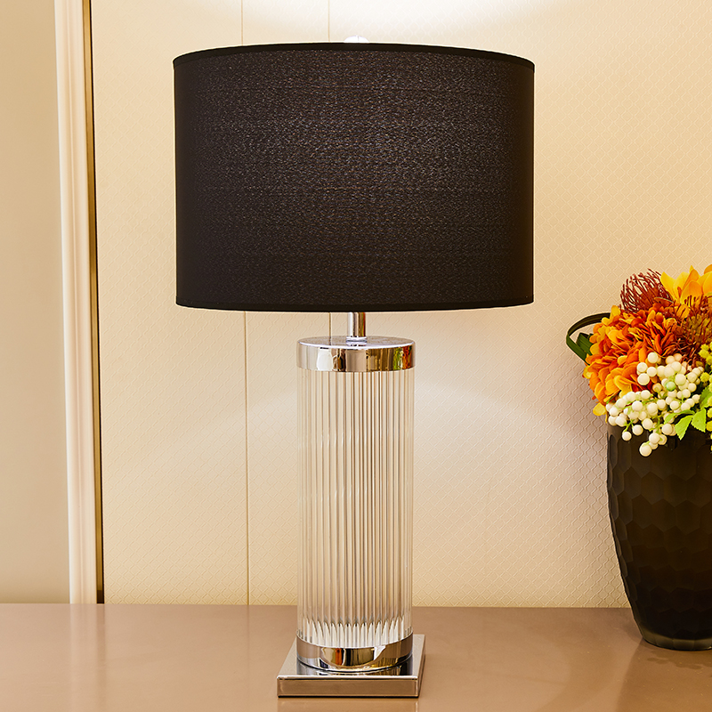 TUDA Black Lampshade Clear Glass Table Lamp For Bedroom Stainless Steel Crystal Column Led Table Lamps For Study Room 110v 220v