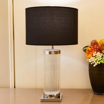 TUDA Black Lampshade Clear Glass Table Lamp For Bedroom Stainless Steel Crystal Column Led Lamps Study Room 110v 220v