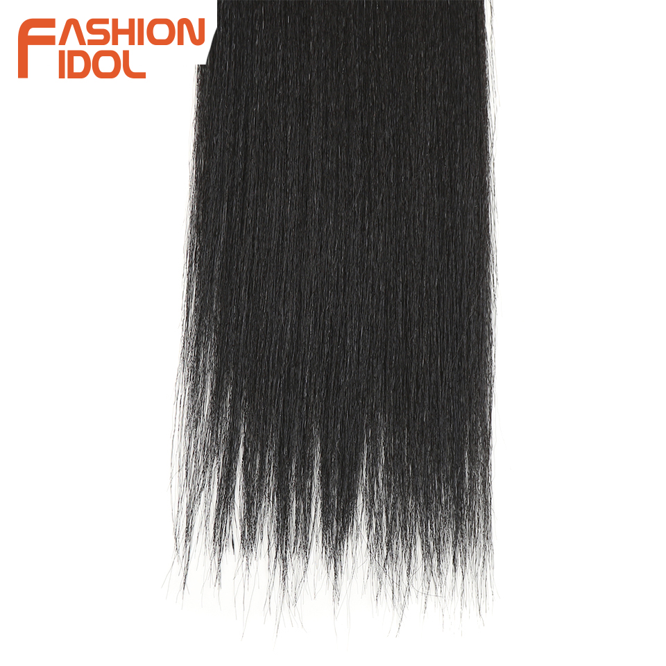 FASHION IDOL Yaki Straight Hair Bundles 7Pcs/Pack 16-20inch Ombre 613# Synthetic Hair Bundles With Closure Weave Hair Extension 5