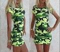 O envio gratuito de 2016 mais recente moda praia do verão estilo mulher dress exército verde magro bodycon sexy partido manga curta roupas femininas
