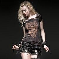 Punk Retro Women Hollow Out Tee Shirts Visual Kei Spring Summer Black Women S Short Sleeve