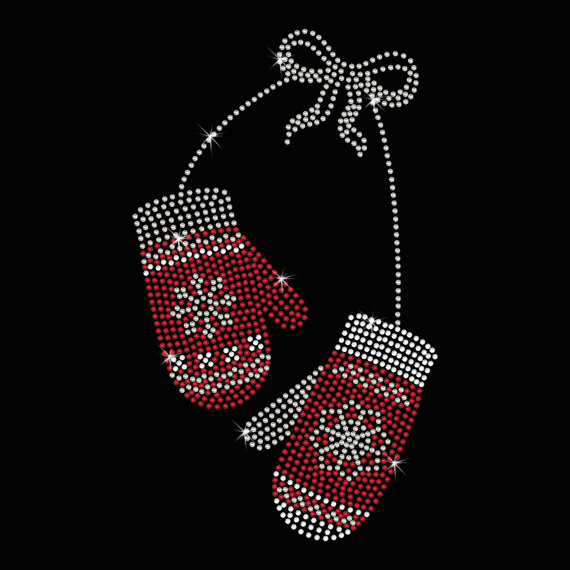 2ks / lot vánoční sněhová vločka rukavice hot fix drahokamu motiv Iron On Bling Transfer designy náplasti na košili