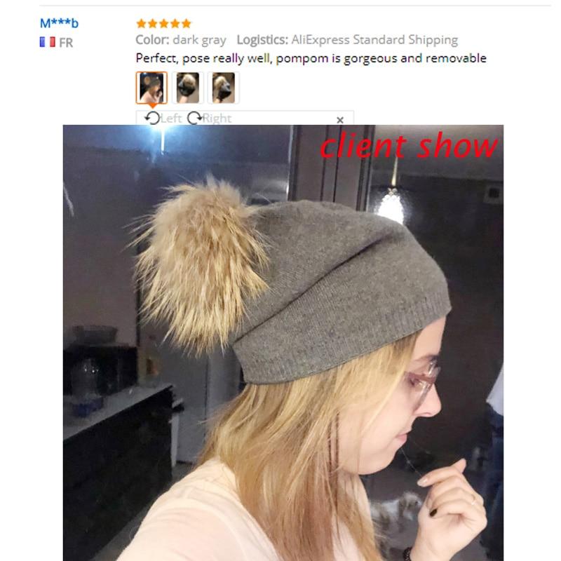 Musim dingin Musim Gugur Pom Pom Beanies Topi Wanita Rajutan Wol - Aksesori pakaian - Foto 3