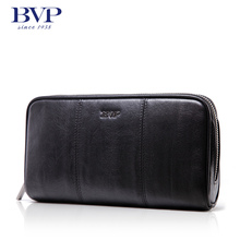 BVP high-end Men BusinessTop Genuine Leather Cowhide Zipper Clutch Handbag Phone Purse Black ID Coin Clutch Bag S3006