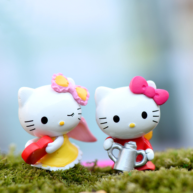 cartoon animal kawaii bowknot cat garden figures fairy garden miniatures cut cat toys miniature accessories  home decoration 2